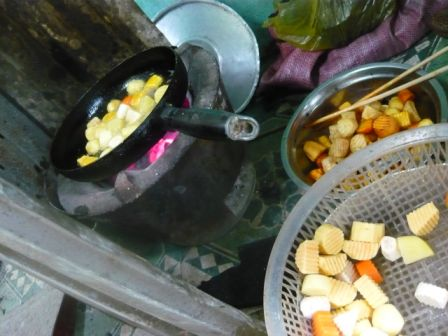 frying vegetables outside