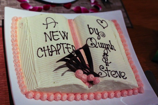 Chef Shane's beautiful book cake creation for Steve and  Quynh.  Photo courtesy of Stephen McGrath
