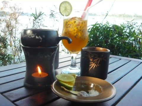 tea by the Perfume River in Hue