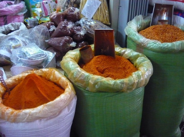 Chili powders for sale at Đông Ba Market in Huế